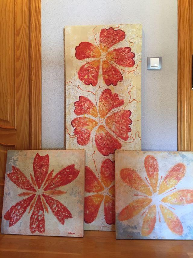 Cuadros flores naranjas