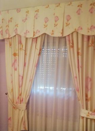 conjunto de cortinas, colcha, edredon y cojiines