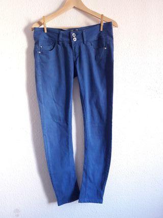 Pantalón chino pitillo azul Bershka t 36 skinny