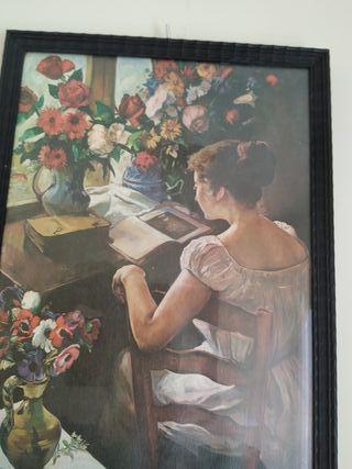 cuadro antiguo mujer flores