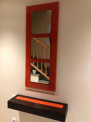 Mueble recibidor entrada con espejo