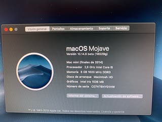 Mac mini del 2014 con 2 ssd y 8 gb