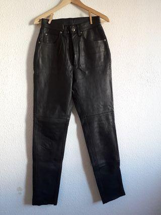 Vintage pantalón cuero negro McMonti t 36 (amplia)