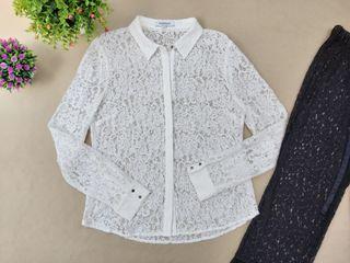 blusa blanca de encaje marca Morgan Talla 42
