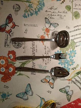 Juego de cuchara cucharón tenedor para servir inox