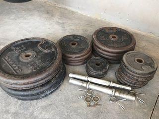 Set de gimnasio de pesas / mancuernas / barra