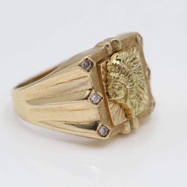 Sello perfil indio de oro de segunda mano G102745