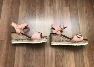 Sandalias Nuevas Cuña Beig/rosa
