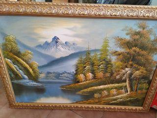 cuadro paisaje pintando oleo