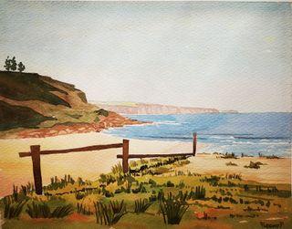 Acuarela de la playa de Barayo en Navia Asturias