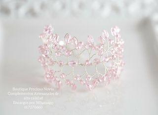 Pulsera de novia ,pulsera en tono rosa / plata