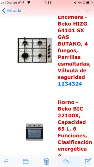 Pack cocina horno+placa a gas