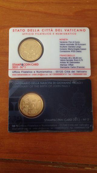 Lote monedas +sello vaticano coleccionistas