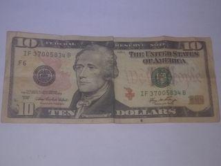 billete de 10 dólares americanos