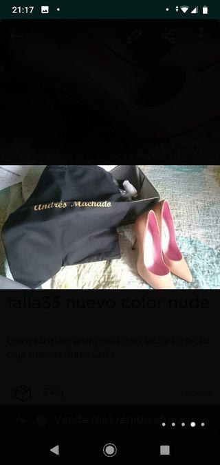 zapato de tacón talla33 color nude