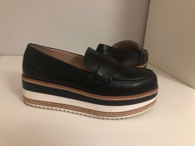 Zapatos de pull negro nuevos,mocasines de platafor