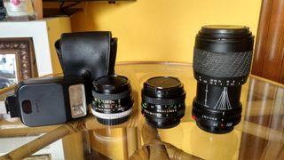 Flash y objetivos (Canon AE-1)