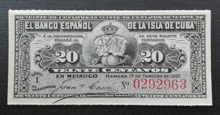 20 centavos de peso banco español de Cuba