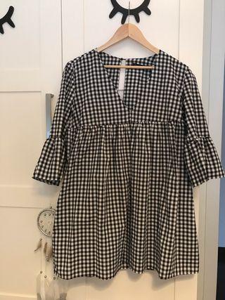 Vestido Vichy corto manga tallaS
