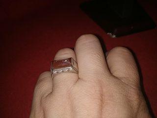 anillo plata hombre años 30 ágata y plata