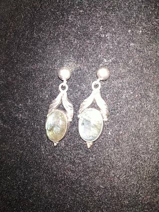 preciosos pendientes antiguos .plata labradorita