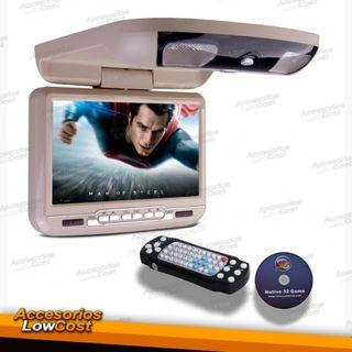 """PANTALLA DE TECHO 9""""BEIGE, CON REPRODUCTOR DVD,USB"""