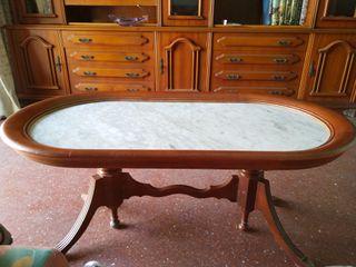 Mesas mármol y madera