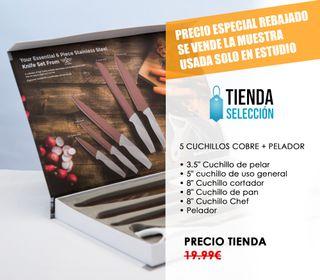 5 CUCHILLOS COBRE + PELADOR MUESTRA