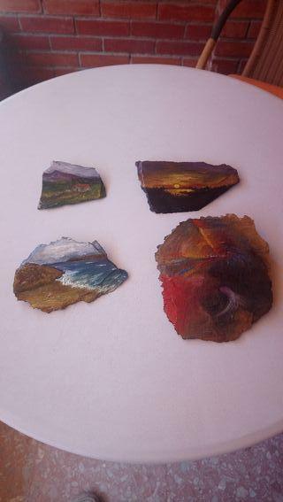 Cuadros al óleo sobre piedra pizarra