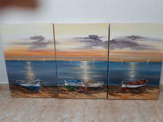 Triptico cuadros óleos marinero.