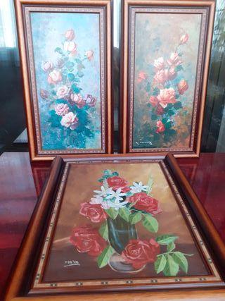 Lote cuadros óleo de rosaledas