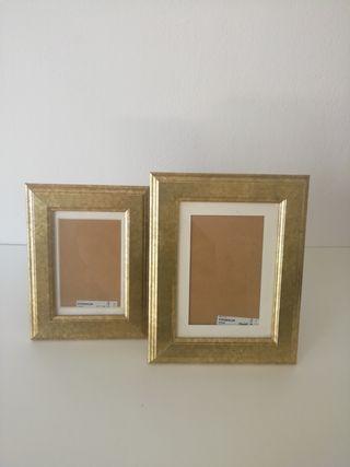 2 Marcos para fotos dorados IKEA