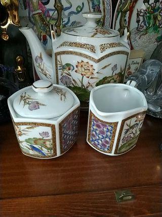 juego de té japonés de porcelana