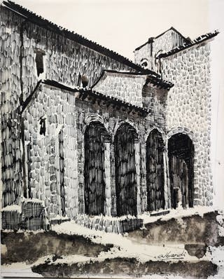 Lámina a plumilla de la Camara Santa de Oviedo