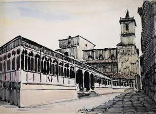 Lámina a plumilla acuarelada del Fontán de Oviedo