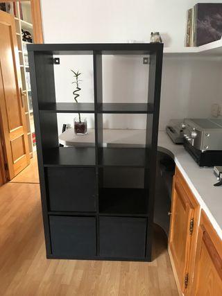 Estantería negra-marrón Kallax de 8 estantes