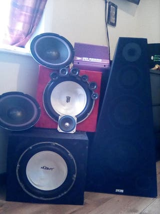 Bunch of speakers and subwoofers
