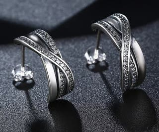 pendientes aro abierto con circonitas en plata