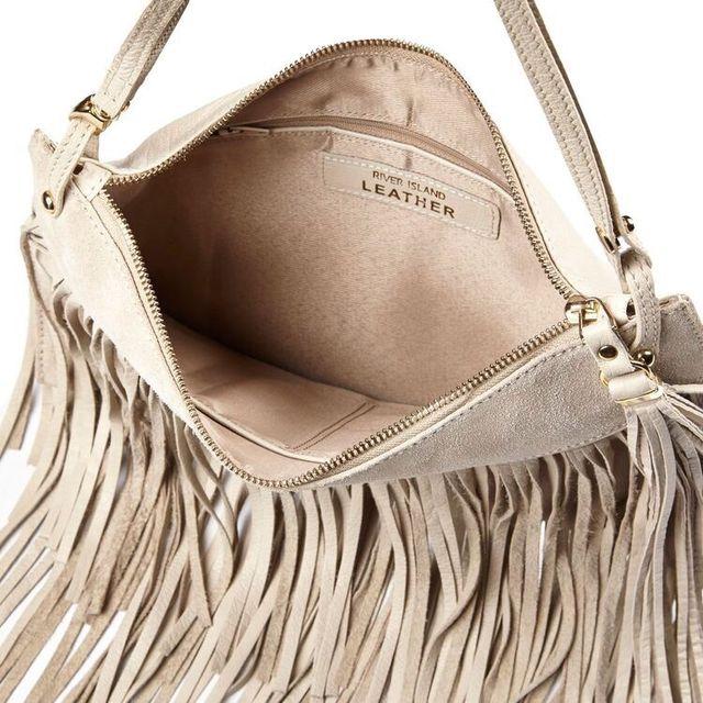 RIVER ISLAND Leather Fringed bag