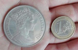 moneda 1 corona olimpiada de Barcelona Gibraltar