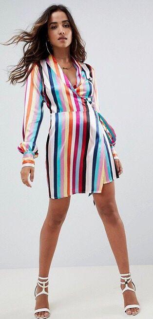 ASOS Design Wrap Mini Skater Dress in stripe