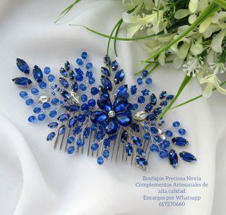 Tocado Artesanal ,tocado en tono azul marino