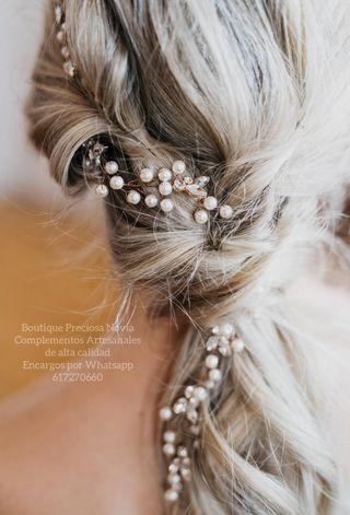 Tiara novia de cristal Swarovski perla brillantes