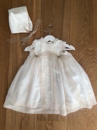 Vestido bautizo y capota bebé 6 meses