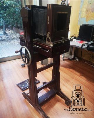 cámara gran formato 23x24cm madera restaurar