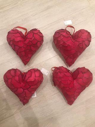 4 corazones de decoracion