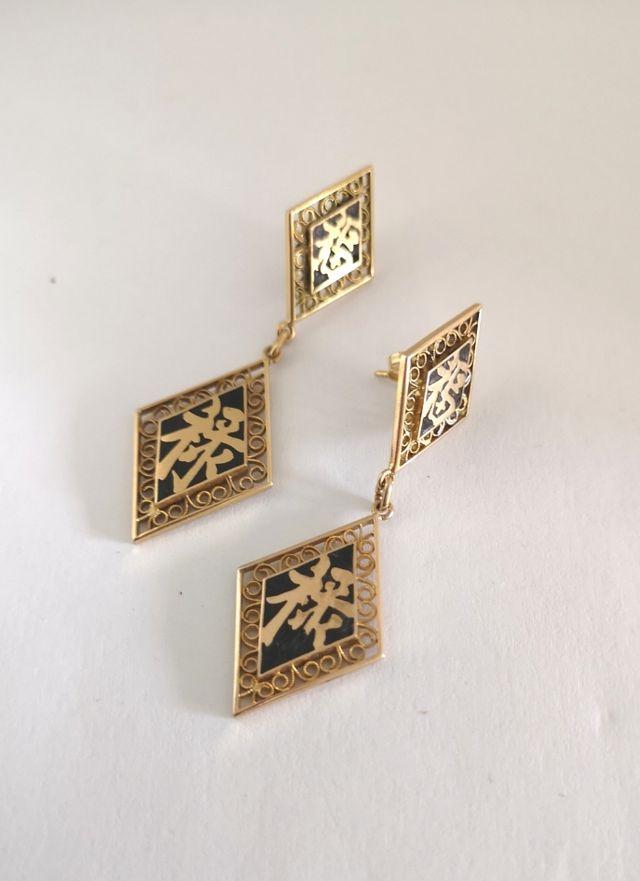 Vintage Pendientes Chinos Oro 18k Esmalte