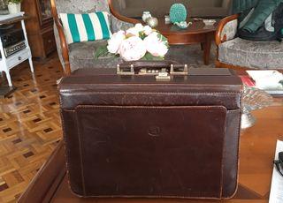 maletín médico portafolios doctor piel antiguo