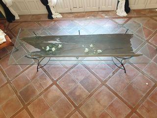 Bonita mesa de cristal y madera canoa autenca