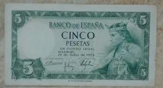5 pesetas de 1954 sin serie